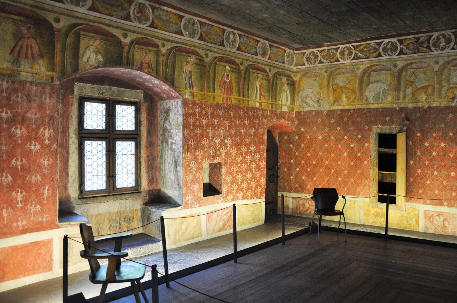 Frescoed room, Runkelstein Castle, Bolzano, South Tyrol, Italy