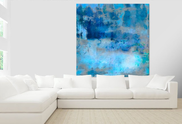Blue art abstract on canvas    Ricki Mountain