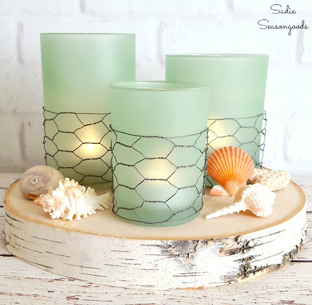 coastal decor seaglass candles diy
