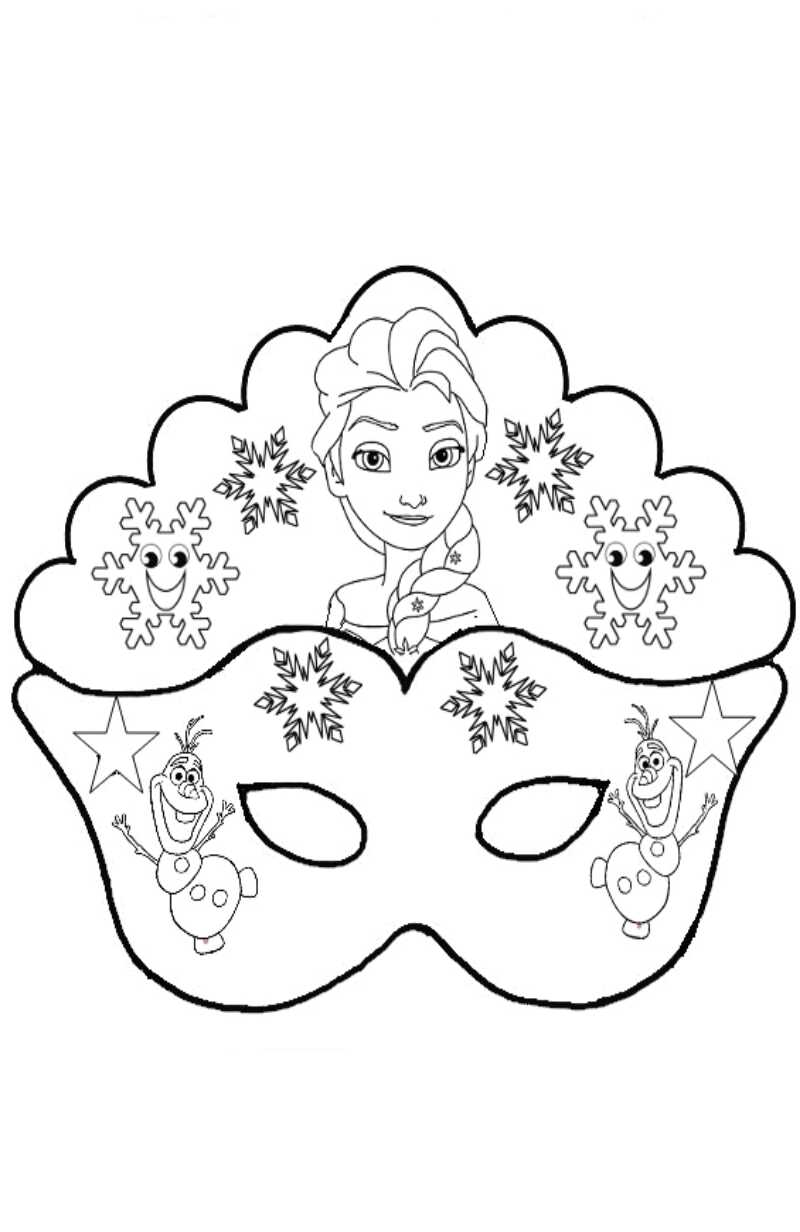 La maestra linda maschera frozen da colorare for Mascherina carnevale da colorare