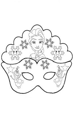 La maestra linda maschera frozen da colorare for Immagini maschere carnevale da colorare