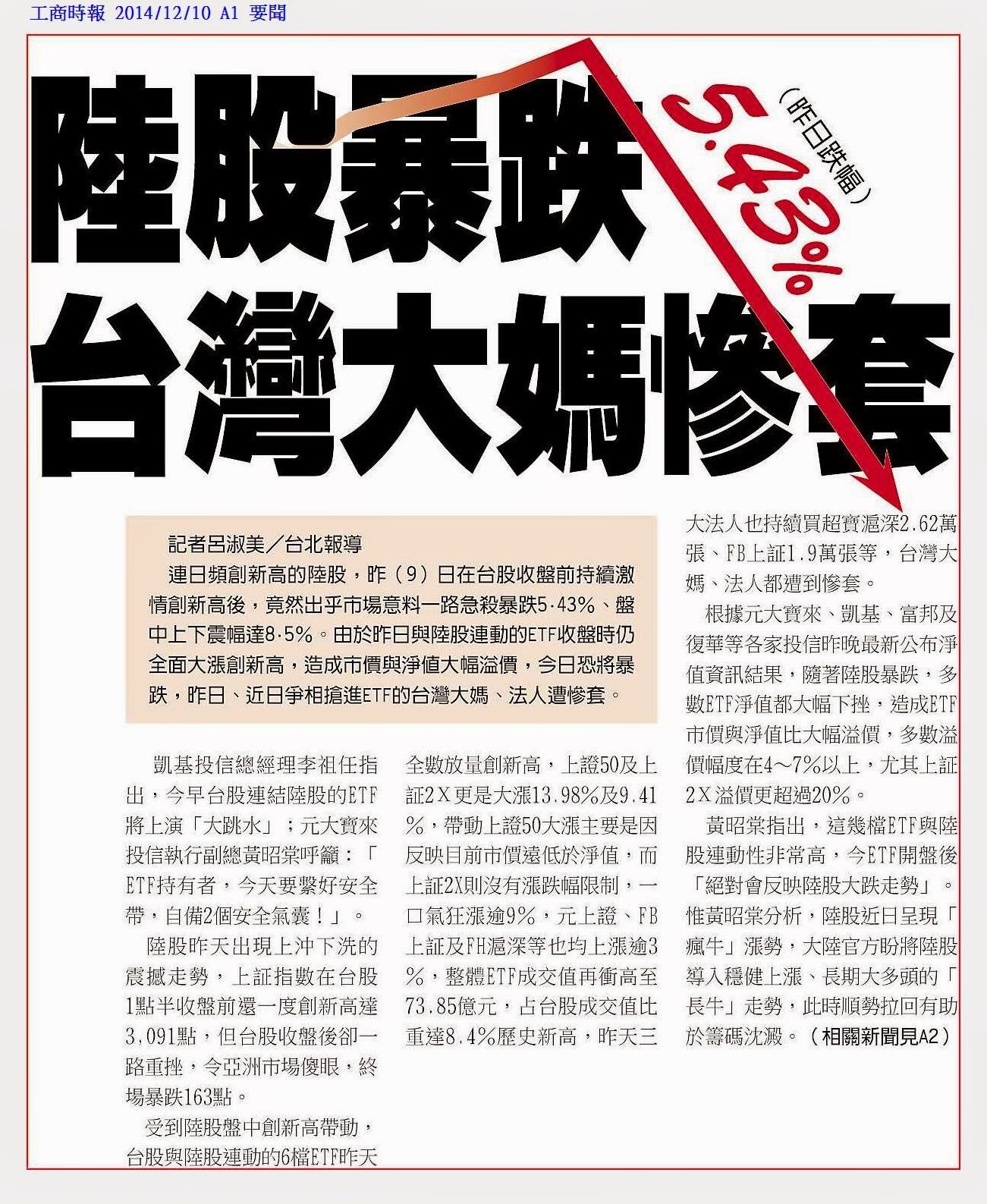 輕易豐盛學苑: Jamie精選工商時報20141210財經新聞