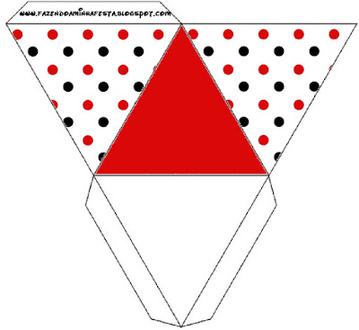 Red Polka Dots in Black and White Free Printable Pyramid Box.