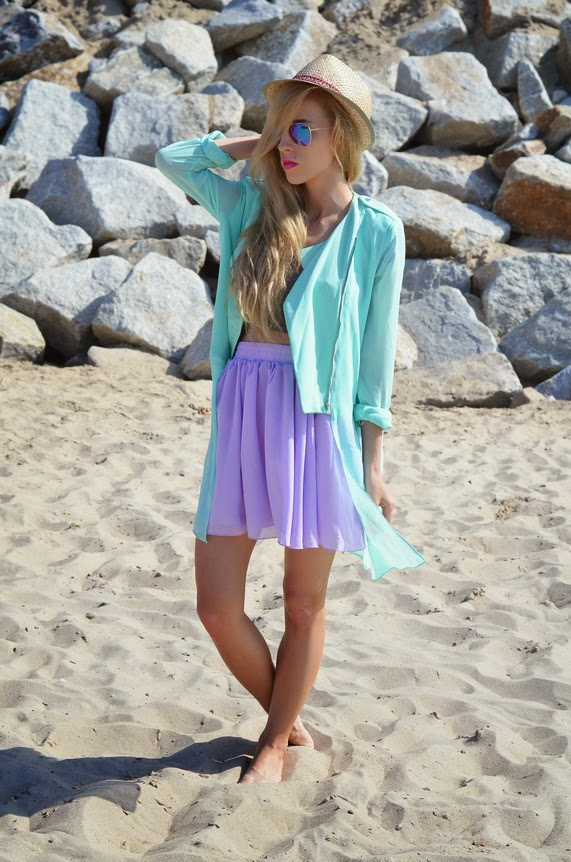 PASTELS : MINT CHIFFON COAT & PURPLE SKIRT
