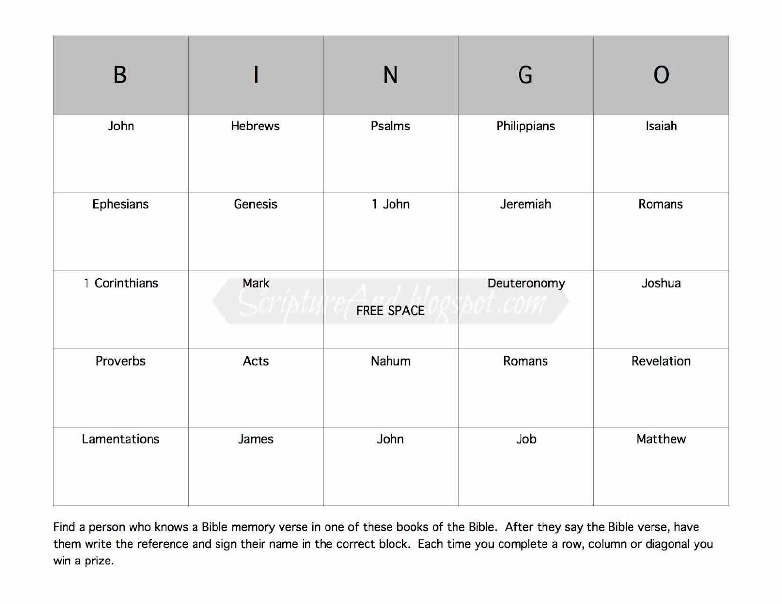 Scripture And Bible Memory Verse Signature Bingo