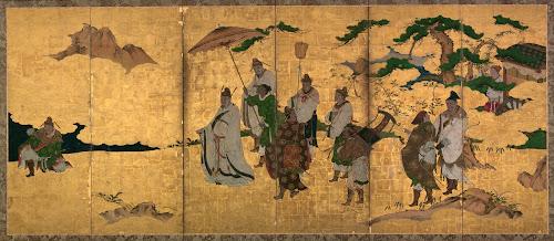 Painel representando o encontro (semi) histórico entre duas lendas da China Antiga.