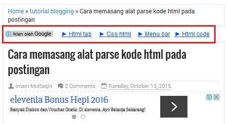 memasang iklan AdSense di atas judul