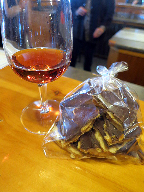 Hernder Cabernet Franc Icewine with Salted Caramel Chocolate Brittle
