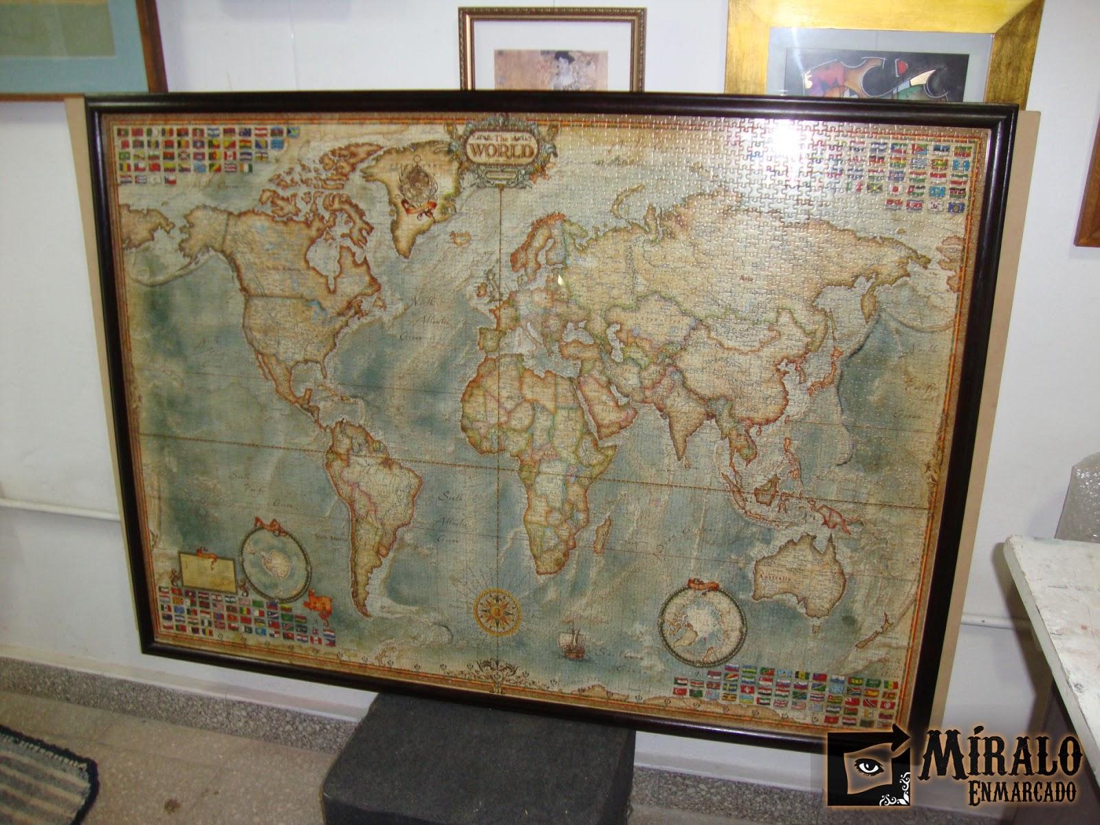 Enmarcado de rompecabezas de gran tama o mapamundi - Marcos con profundidad ...