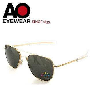 AO Military Original Pilot Aviator Sunglasses (Gold, Polarized Lens)