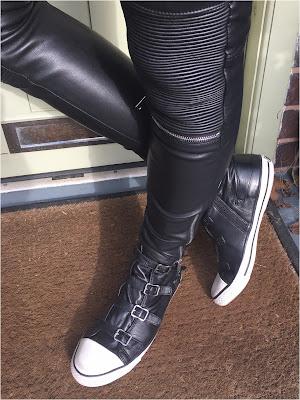 My Midlife Fashion, Cloggs Shoes, Ash Virgin Nappa Ash Black Wax Trainers