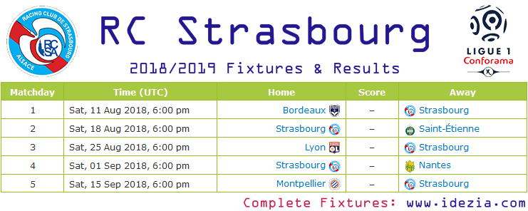 Baixar calendário completo PNG JPG Strasbourg 2018-2019