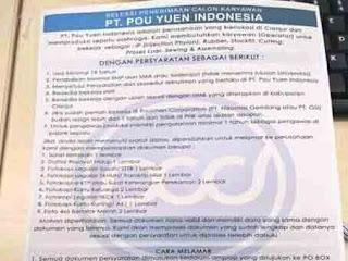 Lowongan Kerja Cianjur (PT.POU YUEN INDONESIA)