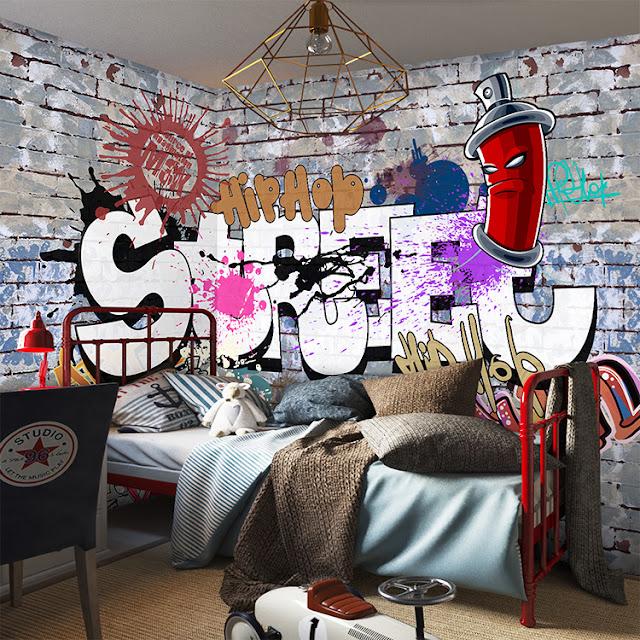 graffiti tapet ungdomsrum fondvägg fototapet ungdomstapet killtapet
