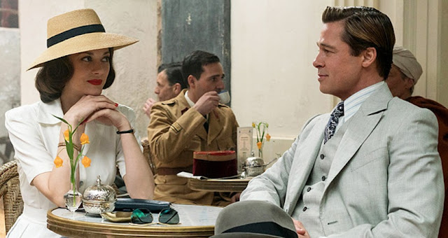 A Still from Robert Zemeckis' Allied, Brad Pitt, Marion Cotillard, Casablanca, Restaurant scene