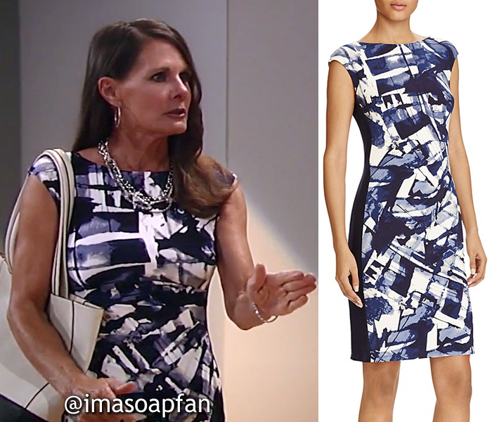 Lucy Coe, Lynn Herring, Blue and White Abstract Print Dress, General Hospital, GH