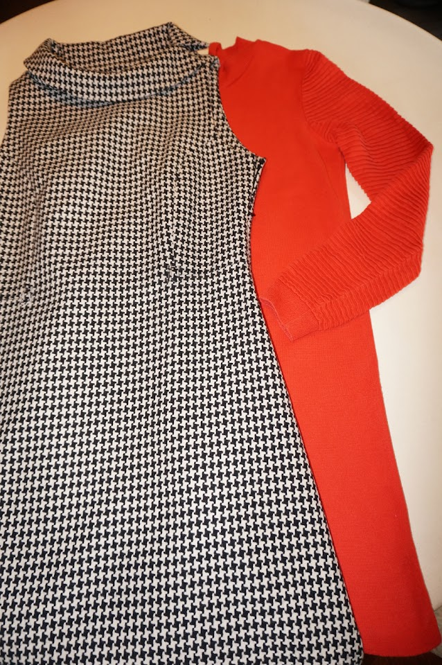 today's dresses , black white houndstooth woolen dress , orange knit sweater dress