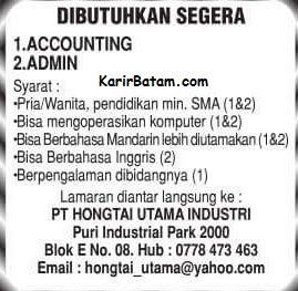 Lowongan Kerja PT. Hongtai Utama Industries