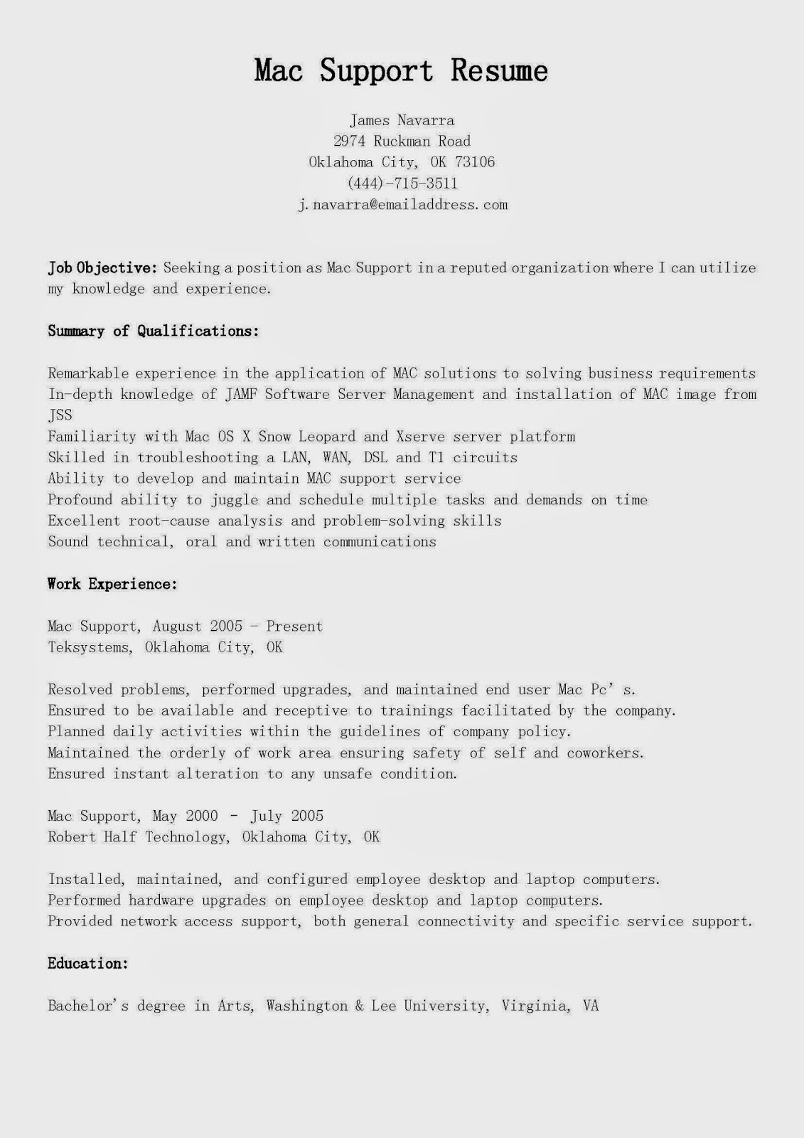 Resume Samples: Mac Support Resume Sample