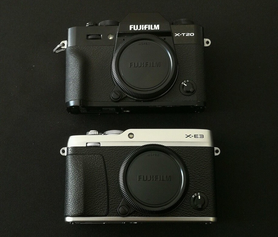 Fujifilm X-E3 and X-T20 Front Comparison