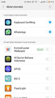Daftar Aplikasi Diizinkan Mulai Otomatis