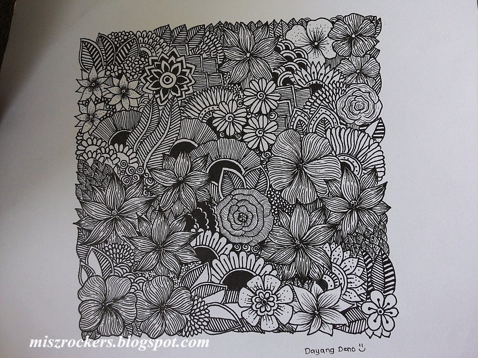 Lukisan Doodle Bunga