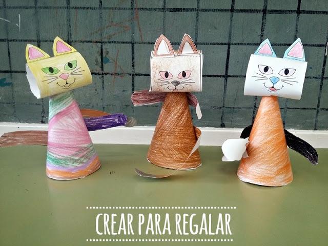 manualidades para niños gato papel