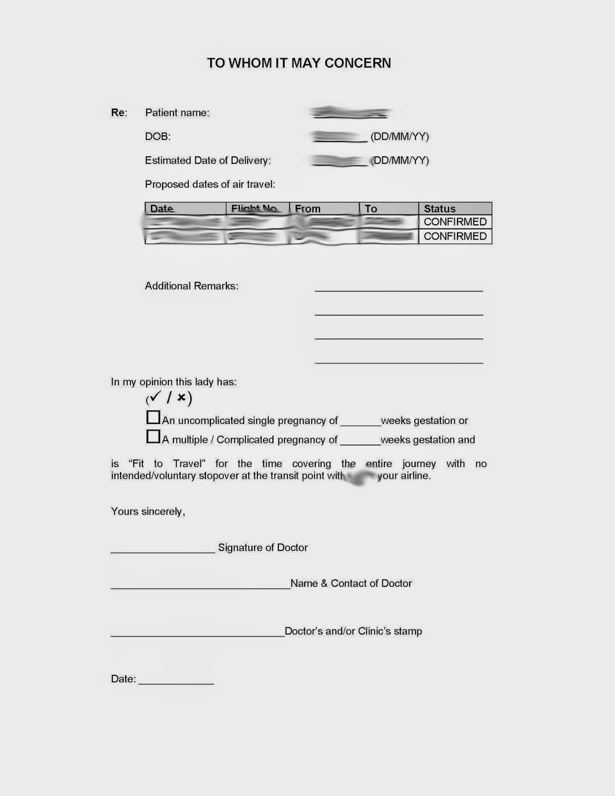 Sample Medical Certificate For Pregnancy Air Travel