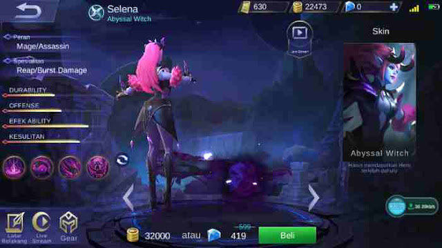 Guide Selena Mobile Legend, Build, Skill, Ability, Set Emblem Yang Cocok, Hingga Tips Menggunakannya