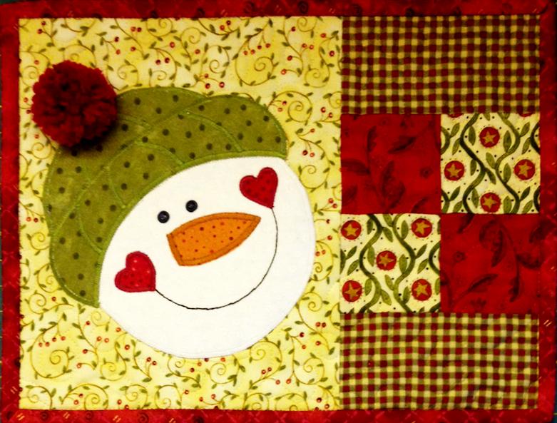 snowman, mug rug, denise clason, quilt