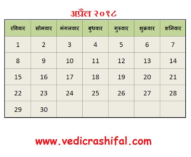 April 2018 Hindu Calendar - अप्रैल २०१८ हिन्दू कैलेंडर - Nakshatra, Tithi, Panchang, Karana, Yoga, Kala