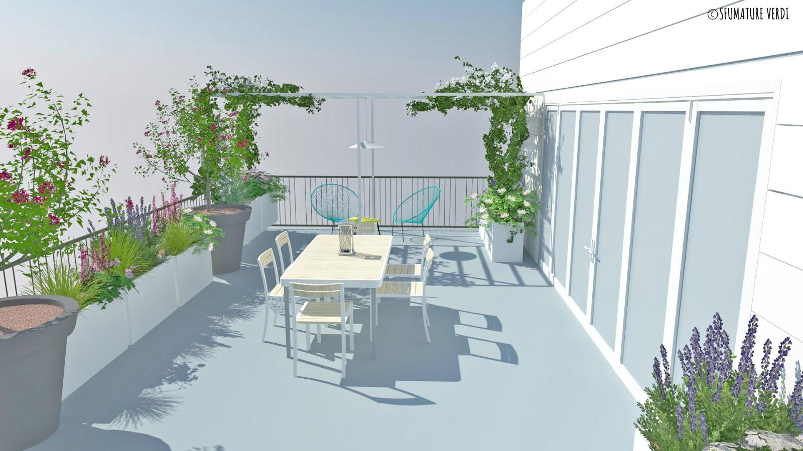 Terrazzo tra fiori e relax | sfumature verdi
