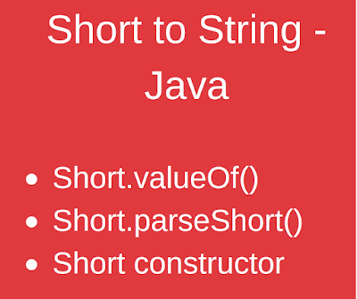 Java - Convert String to Short Example