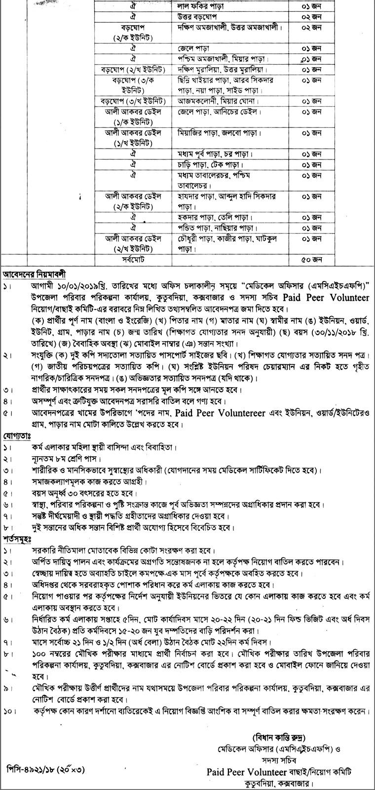 Cox's Bazar Kutubdia Upazila Family Planning Paid Peer Vulanteer (Female) Job circular 2018