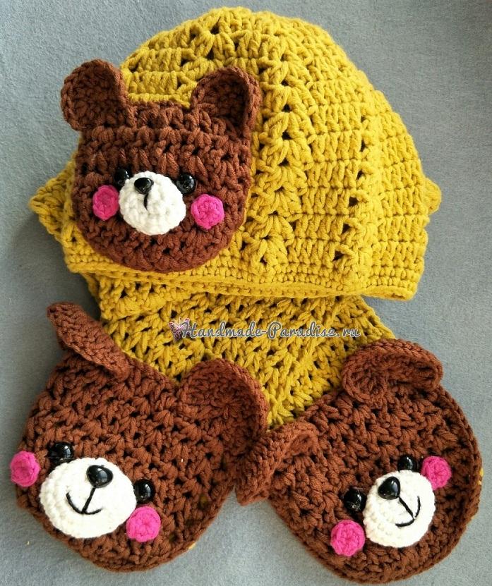 Схемы вязания крючком замечательного детского комплекта - шапочки и шарфика с мишками