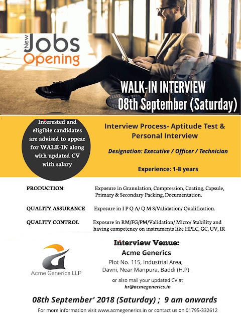 Acme Generics - Walk-In Interviews for Quality Assurance, Quality Control, Production at 8 Sept