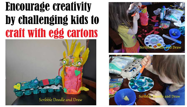 Craft for kids make a parrot and a dinosaur out of egg cartons