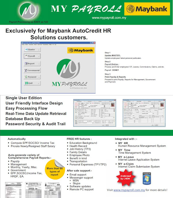 MyPayroll Maybank Version ~ Payroll System Human Resource