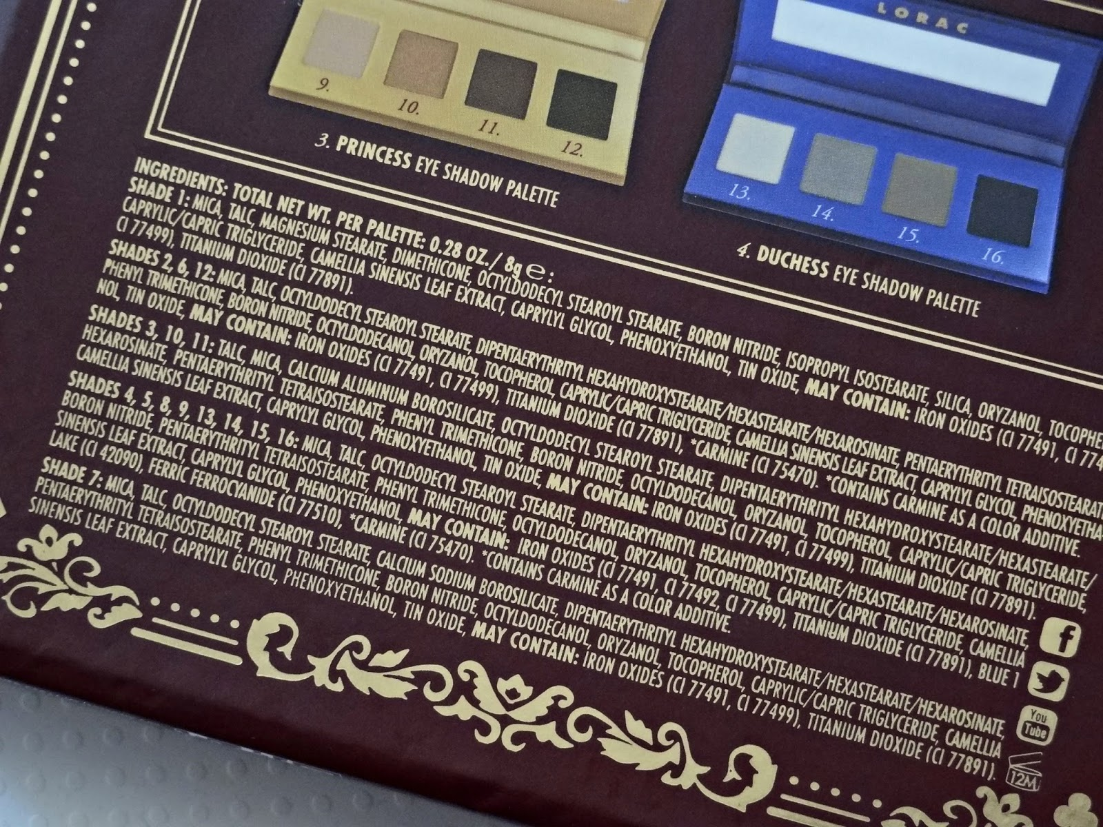 LORAC The Royal Eyeshadow Collection Holiday 2014 Ingredients