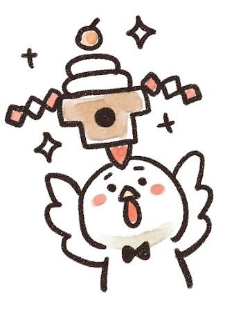 鏡餅を掲げるニワトリのイラスト(酉年)