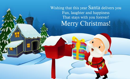 Merry Christmas Card eCard Greetings Wishes by Santa Claus