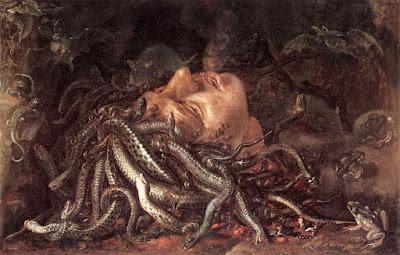 Cabeza cortada de la Górgona Medusa, atribuida a Leonardo Davinci