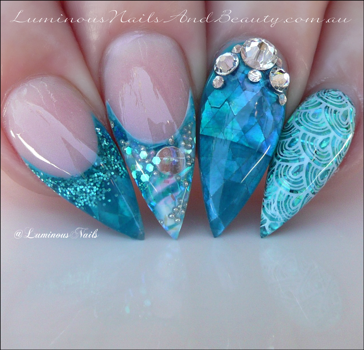 Luminous Nails: Aquamarine/Turquoise Mermaid Inspired Acrylic Nails..