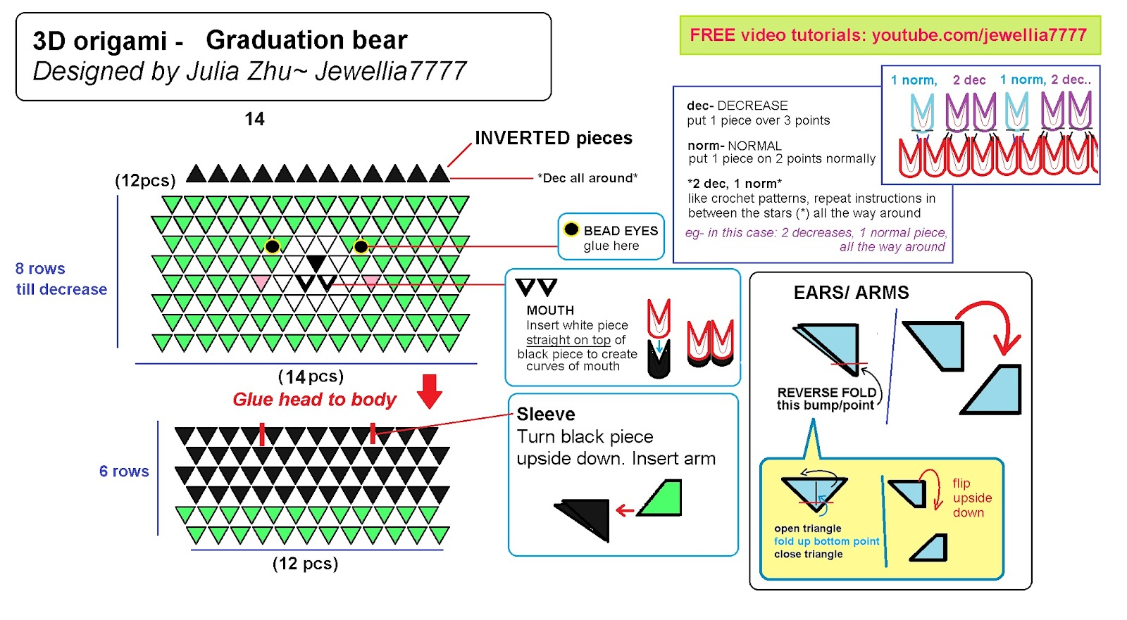 Easy origami bear instructions and diagram | 881x1600