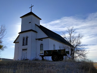 Abandoned white church, Matheson, Colorado