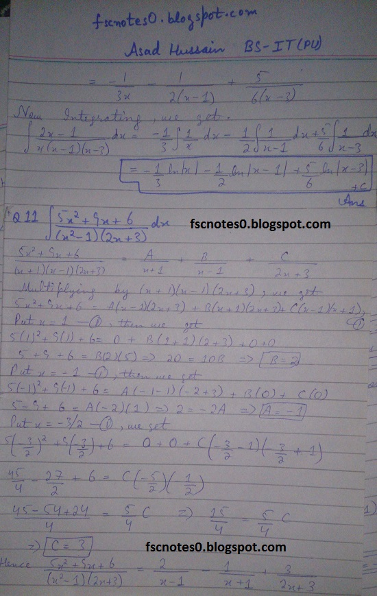 FSc ICS Notes Math Part 2 Chapter 3 Integration Exercise 3.5 question 1 - 11 by Asad Hussain 8