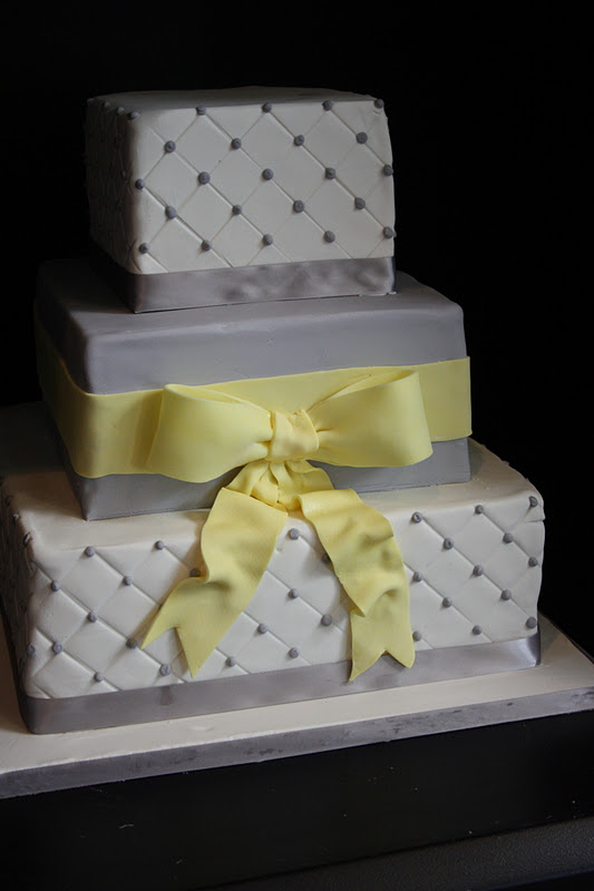Sugar Kisses Cakes by Design  Grey and Yellow Wedding Cake Grey and Yellow Wedding Cake
