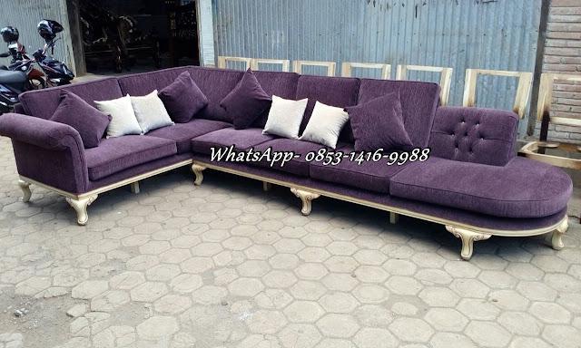 Sofa Tamu Sudut Minimalis Klasik Terbaru FSJ-0007, sofa tamu L, sofa L mewah terbaru, sofa tamu sudut minimalis