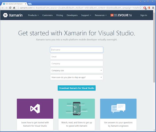 S'enregistrer pour démarrer avec Xamarin pour Visual Studio