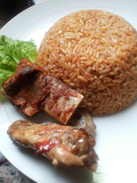 Jollof rice served with meat